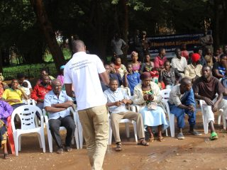 RUTARINDWA Alphonse, director of Health in Gasabo District conducting a dialogue on HIV prevention with residents of Gatsata sector/Kiderenka